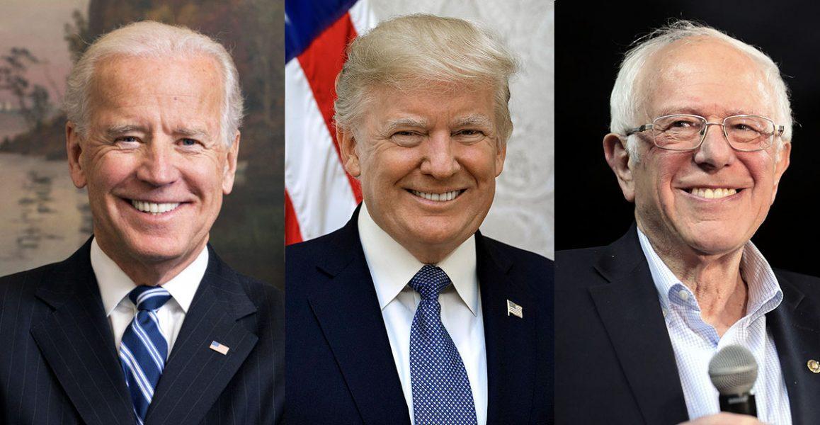 Joe Biden, Donald Trump och Bernie Sanders