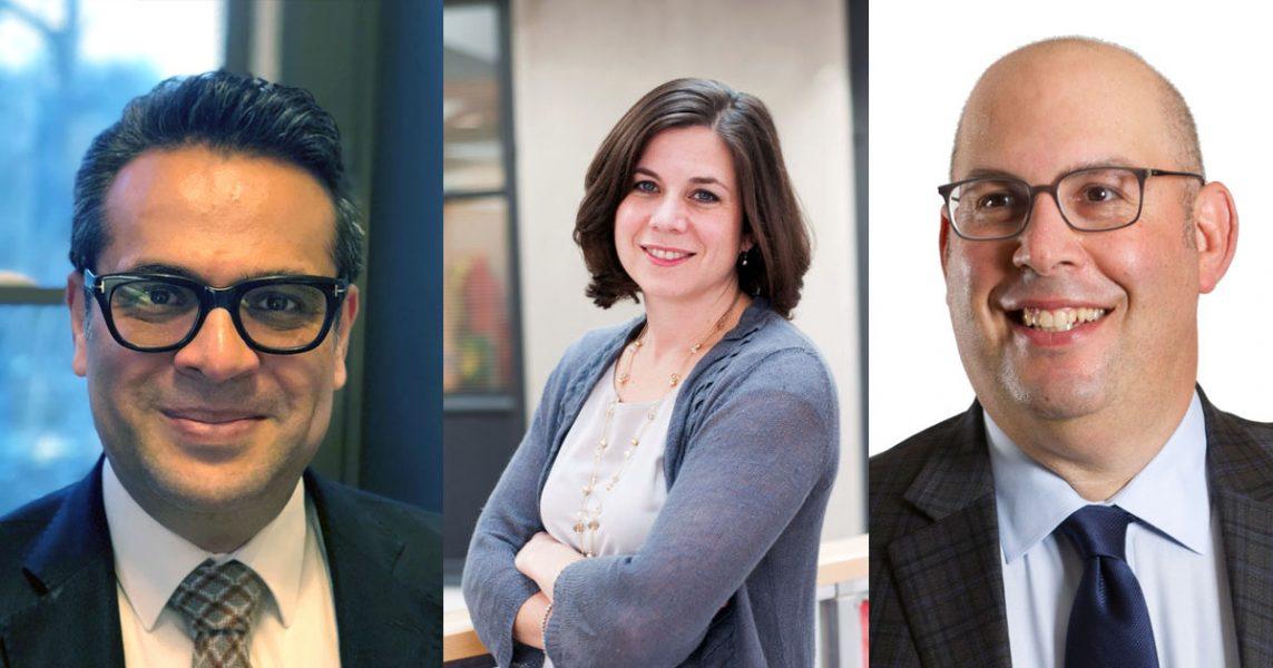 Saad B. Omer (pressfoto: Yale.edu), Michelle M. Mello (pressfoto: Emily Cuccarese) och Ross D. Silverman (pressfoto: iupui.edu/).