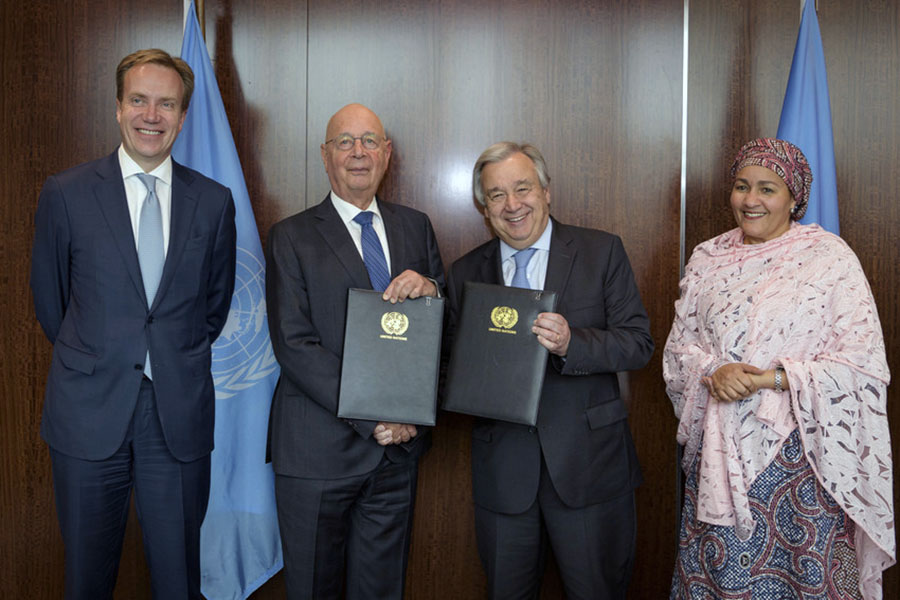 Børge Brende, António Guterres och Amina J. Mohammed.