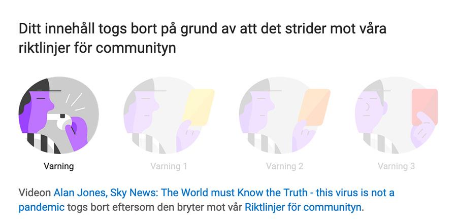 Skärmdump från YouTube (17 sep 2020): Varning till NewsVoice från YouTube angående coronakritiskt inslag i SkyNews från den 16 sep 2020. Varningsskylt: YouTube.
