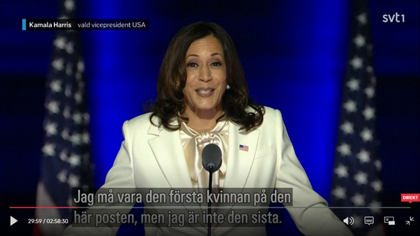 Kamala Harris, 8 nov 2020. Foto: CNN Politics