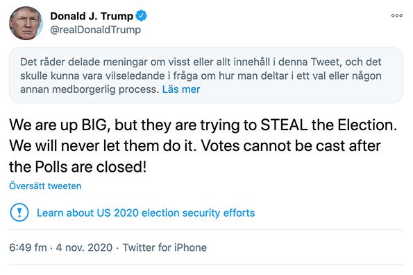 Donald Trump misstänkter valfusk i USA-valet 2020