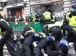 Demonstrationer mot corona-lockdown i London, 28 nov 2020. Foto: Ruptly.com