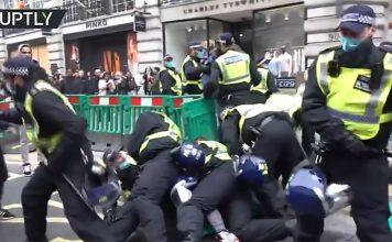 Demonstrationer mot corona-lockdown i London, 28 nov 2020. Foto: Ruptly.com
