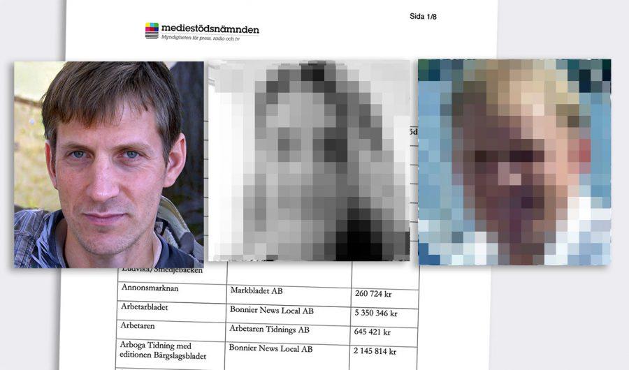 Anders Gustafsson, handläggare Rhodin och Georg Lagerberg. Foton: Privata (pixelerade). Montage: NewsVoice
