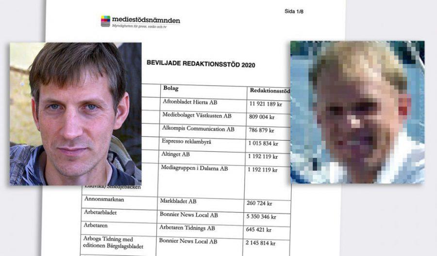 Bild: Anders Gustafsson intervjuar Georg Lagerberg på MPRT (th, privat foto, pixelerat). Montage: NewsVoice