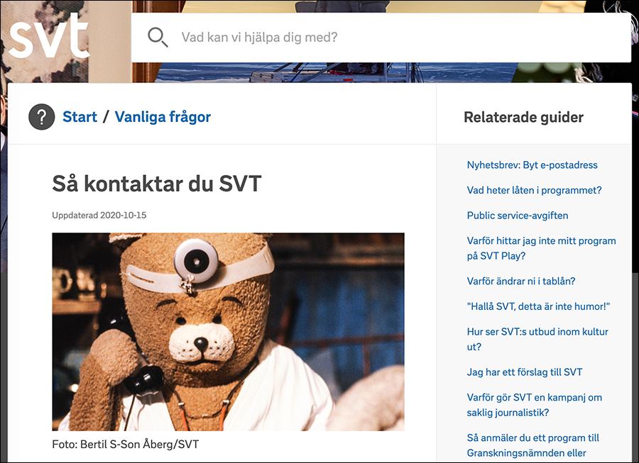 Skärmdump från SVT tittarservice, 2020.