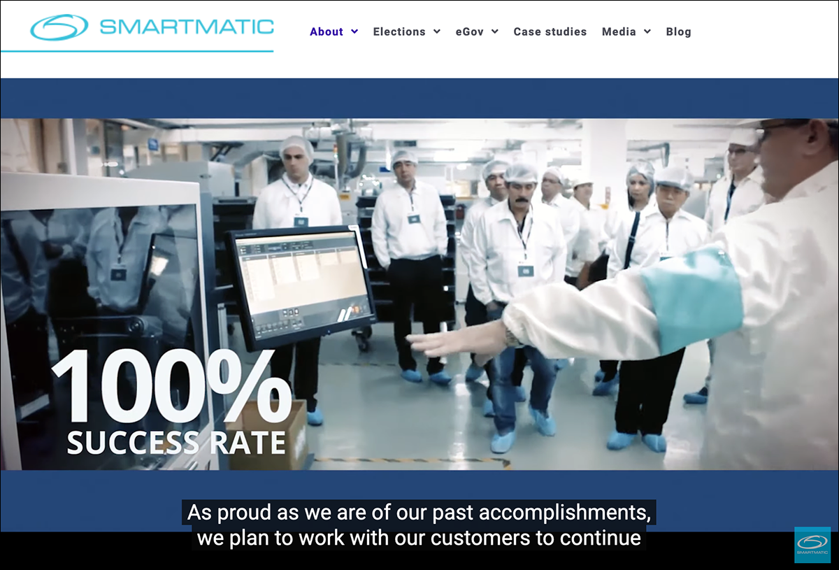 Skärmdump från Smartmatic hemsida med video.