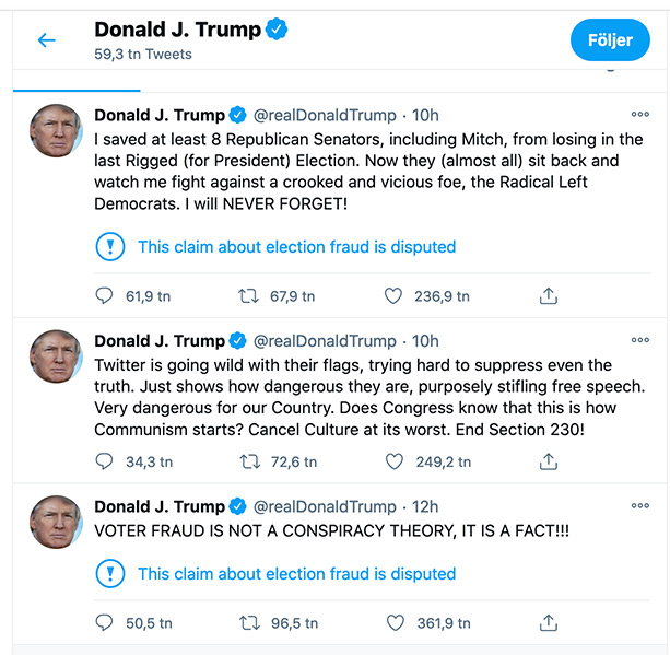 Trump på Twitter den 25:e december 2020.