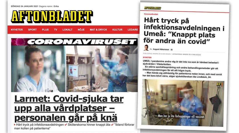 Aftonbladets rapportering om coronakrisen har starka överdrifter. Montage: NewsVoice. Artikel från Aftonbladet. Fotona är pixlererade för att skydda upphovsrätten.