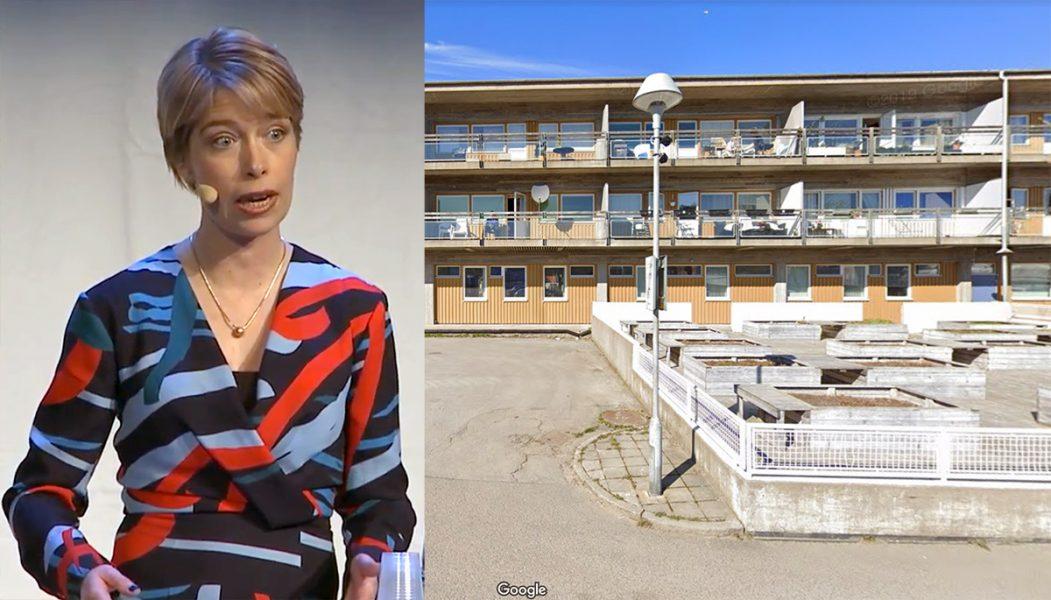 Annika Strandhäll (fotot: forskningsrådet Forte) bodde på Rymdtorget 5 i Göteborg (foto: Google Maps).