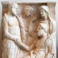 Avbildning av handskakning i Athen cirka år 360 före Kristus. Bild: Public domain