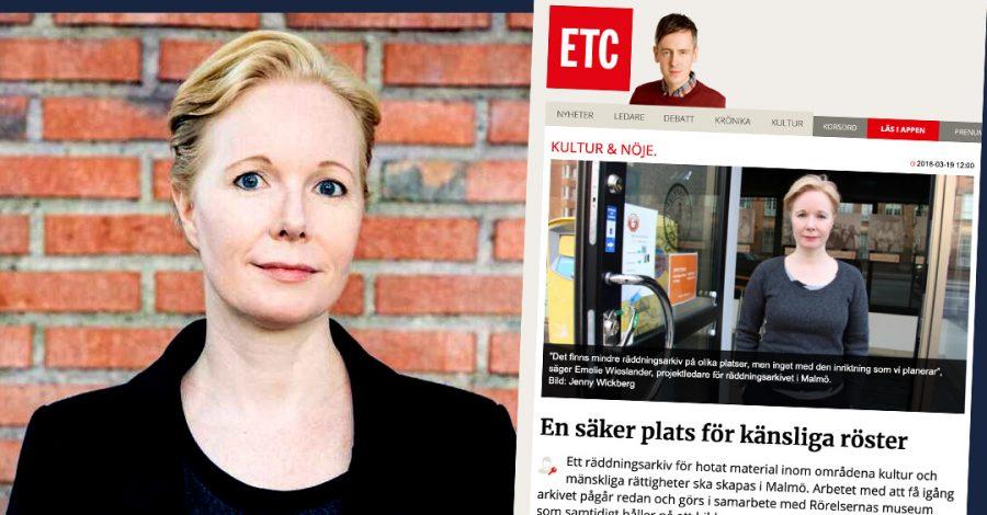 Emelie Wieslander på Malmös stadsarkiv får moraliskt stöd av ETC:s chefredaktör Andreas Gustavsson.