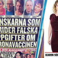 Löpsedeln från Expressen den 15 jan 2021. Pressfoto på Karin Sörbring. Kollage: NewsVoice