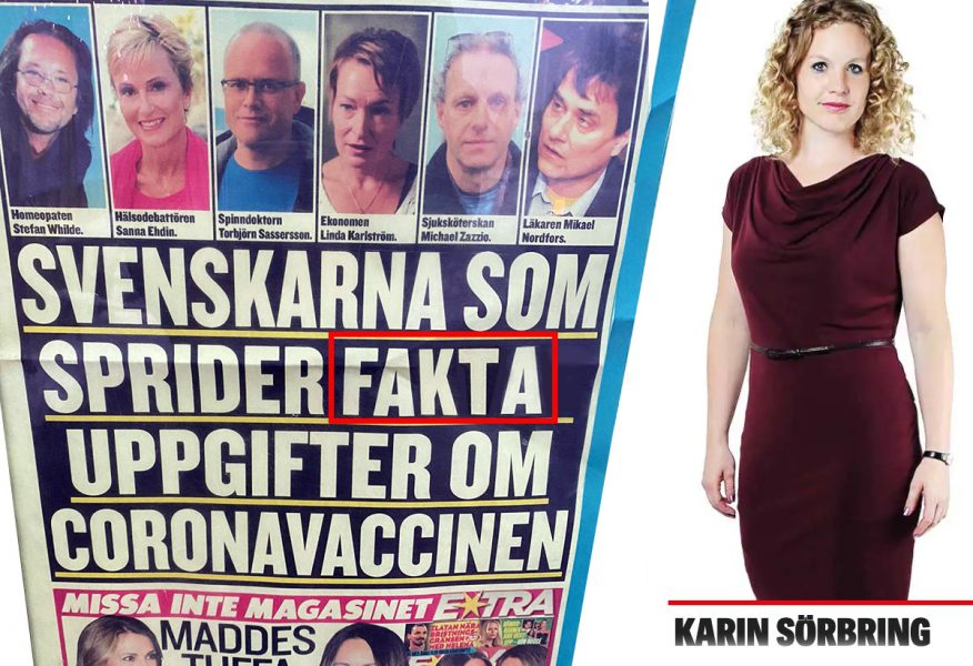 Löpsedel (retuscherad) från Expressen den 15 jan 2021. Pressfoto på Karin Sörbring. Montage: NewsVoice