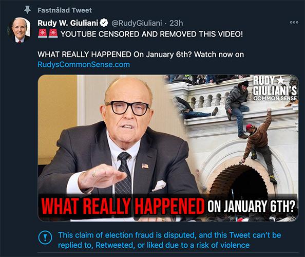Rudy Giuliani, tweet den 10 januari 2021