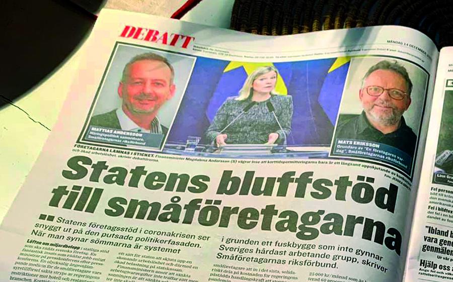 Småföretagarnas Riksförbund debatterar. Foto av uppslag i Expressen från den 12 dec 2020. Foto: Smaforetagarna.se