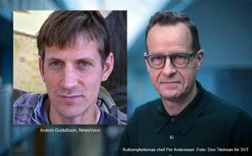 Anders Gustafsson (NewsVoice). Kulturnyheternas chef Per Andersson. Foto: Don Titelman för SVT
