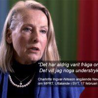 Charlotte Ingvar-Nilsson angående NewsVoice artiklar om MPRT. Uttalande i SVT, 17 februari 2021. Bild: SVT Kulturnyheterna.