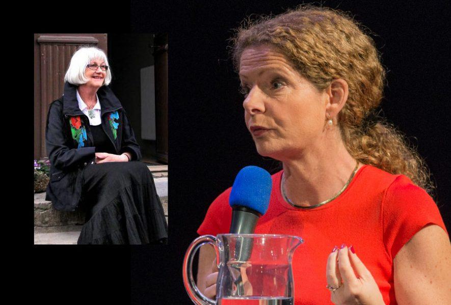Harriet Larsson och SVT:s VD Cilla Benkö (foto: Frankie Fouganthin, CC BY-SA 4.0)