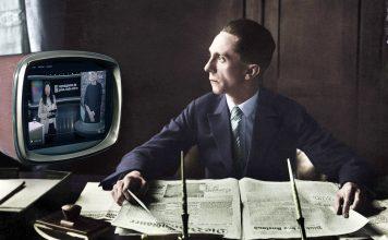 Joseph Goebbels kollar på SVT. Montage: NewsVoice baserat på arkivfoto, public domain och bild från SVT.
