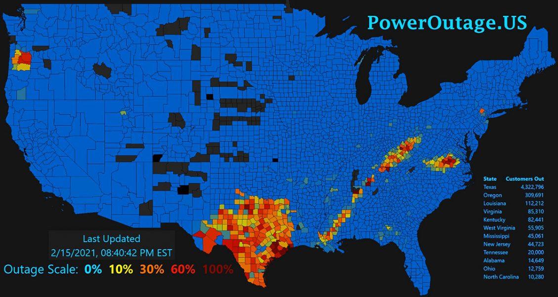 Elbrist i Texas 15 feb 2021. Bild: PowerOutage.us