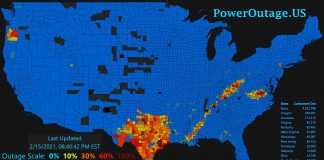 Elbrist i Texas 15 feb 2021. Bild: PowerOutage.us