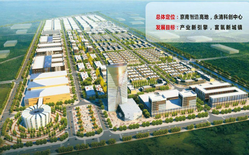 Planerad innovativ industristad i Yongqing, Kina. Illustration: Vastiud.com
