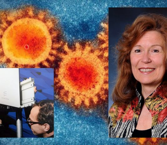 5G från Ericsson (foto: NewsVoice) Beverly Rubik (pressfoto). SARS CoV-2 (foto: CDC.gov)