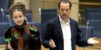 Amanda Lind (MP) och Martin Kinnunen (SD) diskuterar i Riksdagen 11 mars 2021. Foto: Riksdagen.se