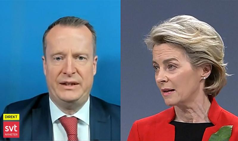 Digitaliseringsminister Anders Ygeman vill ha ett vaccinpass till skillnad från EU-ordförande Ursula van der Leyen. Foto: SVT resp EU Kommissionen. Montage: NewsVoice