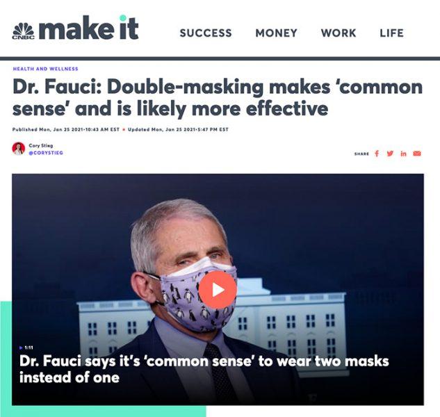 Anthony Fauci förordar dubbelt munskydd. Skärmdump från: CNBC News