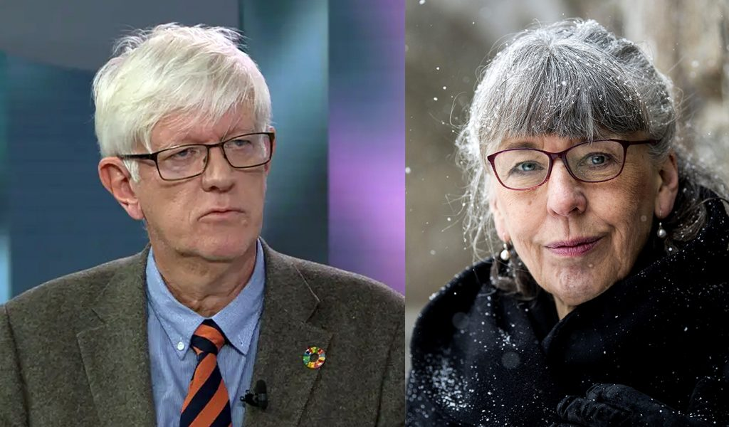 Johan Carlson, GD på Folkhälsomyndigheten (foto: SVT) och Margareta Skantze, 2020 (pressfoto: Staffan Lindbom)