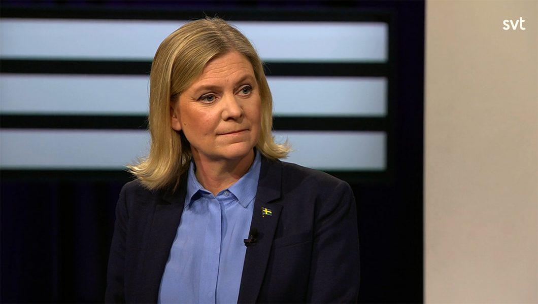Finansminister Magdalena Andersson (S), 21 feb 2021. SVT Agenda