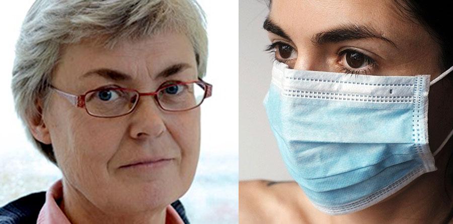 Inger Andersson von Rosen (pressfoto: Socialstyrelsen) och kvinna med munskydd (Jura Varga. Licens. Pixabay.com)