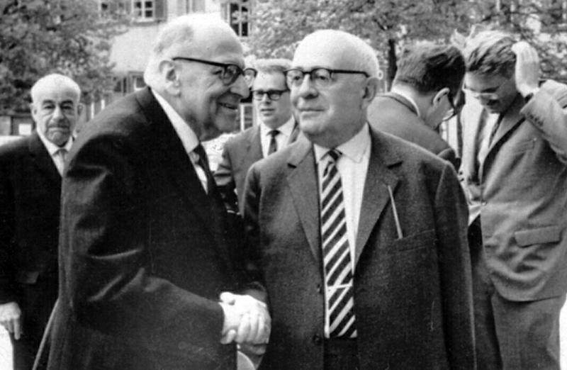 Max Horkheimer och Theodor Adorno vid Frankfurtskolan skapade kulturmarxismen. Foto: Jeremy J. Shapiro. Licens: CC BY-SA 3.0, Wikimedia