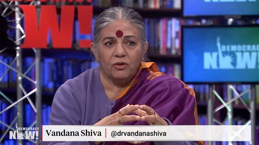 Vandana Shiva varnar att Bill Gates är en falsk filantrop. Foto: Democracy Now