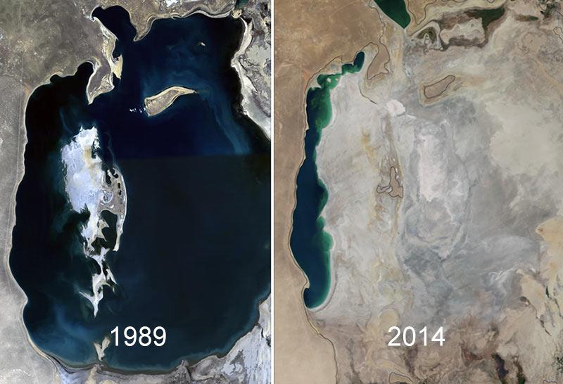 Aralsjön 1989 och 2014. Foto: NASA. Licens: Public Domain