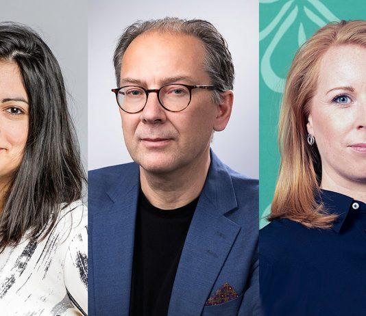 Nooshi Dadgostar (V), Anders Holmestig (Fastighetsägarna) och Annie Lööf (C)