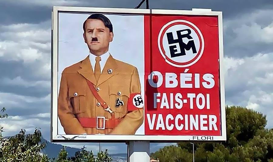 Emmanuel Macron liknas vid Hitler i franska Toulon. Foto: Metro.be