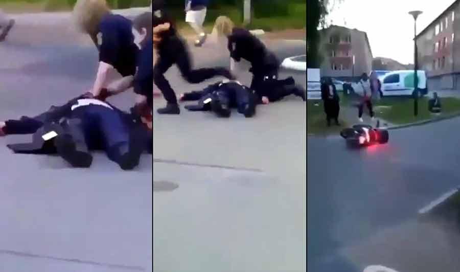 Polismord i Biskopsgården, Hisingen, Göteborg. Foton: läsarbilder