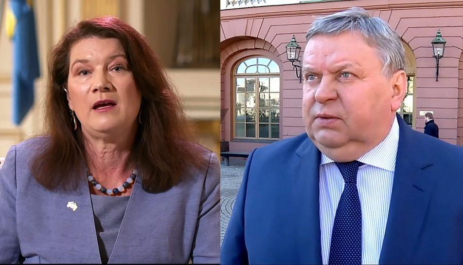 Ann Linde (foto: Regeringen) och Viktor Tatarintsev (foto: Ruptly.com)