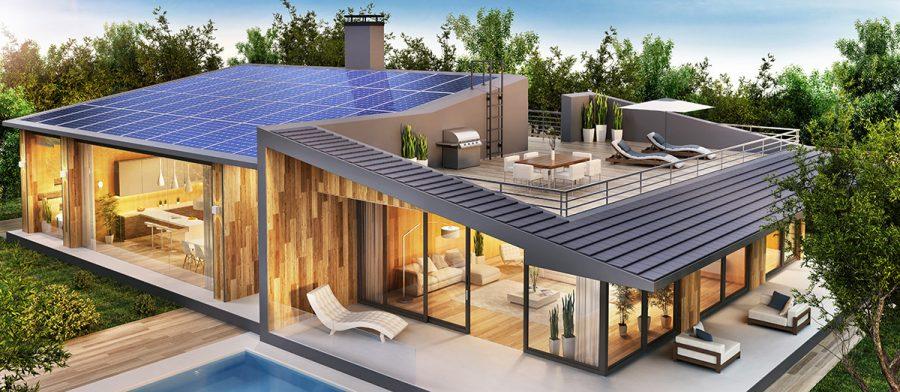 Preppad villa med solpaneler. 3D-bild: Slavun. Licens: Shutterstock.com