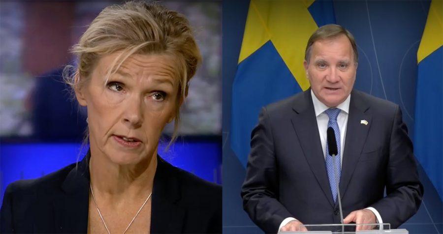 Medicinkvinnan Bodil Appelquist och de snart avgående statsministern Stefan Löfven. Foton: SVT. Montage: NewsVoice