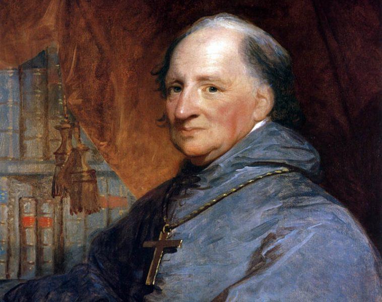 Porträtt av biskop John Carroll (1735-1815). Målning (beskuret) av Gilbert Stuart, Public Domain