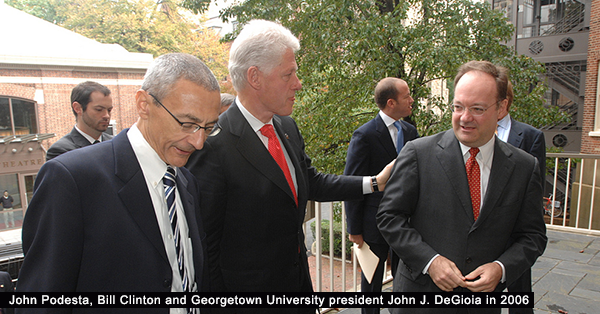 John Podesta, Bill_Clinton, and_John_DeGioia - Wikipedia Commons