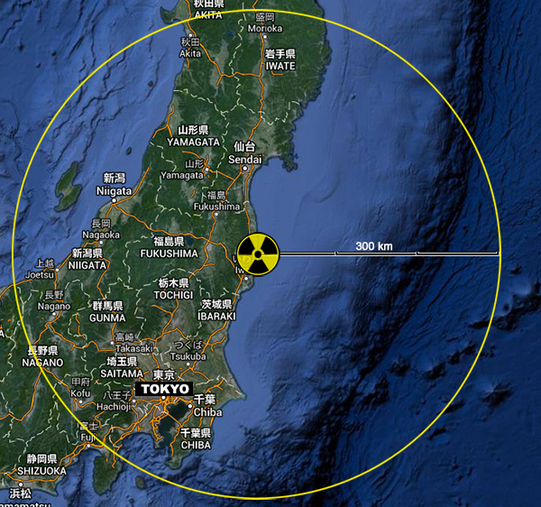Radioactive fallout in Japan after Fukushima